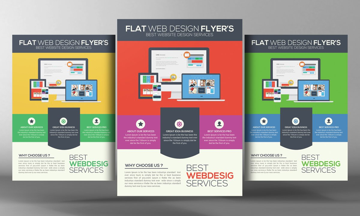 Flat Website Design Flyer Flyer Templates Creative Market - Web design flyer template
