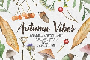 Autumn vibes. Watercolor set
