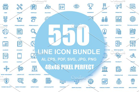 550 Line Icons Bundle