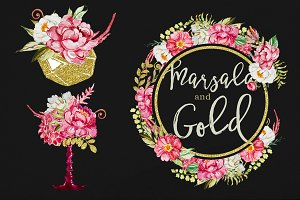 Watercolor Marsala and Gold Clipart
