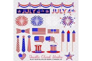 4 July Clipart Fireworks flag buntin