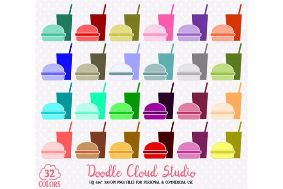 32 Fast Food Clipart Colorful