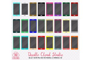 32 Colorful Smartphone Clipart
