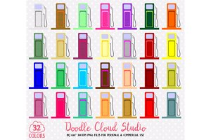 32 Colorful Gas Station Clipart