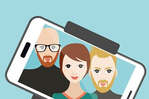 Selfie photo. Vector cartoon
