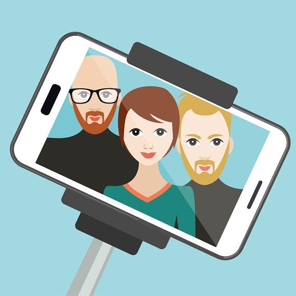 Selfie Photo Vector Cartoon