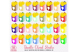 32 Colorful Fries Clipart Fast food