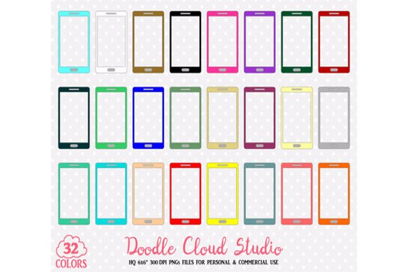32 Colorful Cellphone Clipart