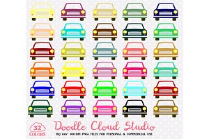 32 Colorful Cars Clipart Rainbow