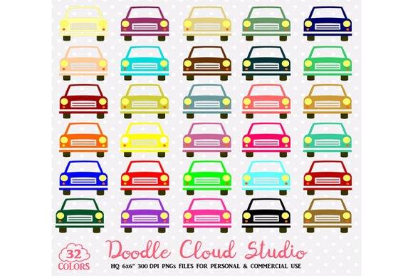 32 Colorful Cars Clipart Rainbow