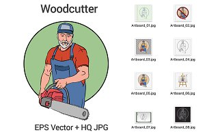Woodcutter with chainsaw