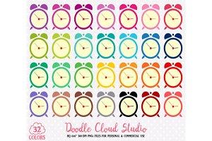 32 Colorful Alarm Clock Cute Clipart