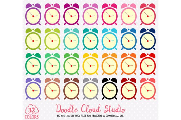 32 Colorful Alarm Clock Cute Clipart