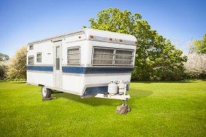 Classic Old Camper Trailer Outdoors