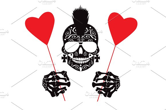 Punk Skull With Heart Balloons