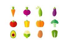Fresh vegetables flat style set
