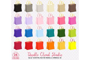24 Colorful Shopping Bag Clipart