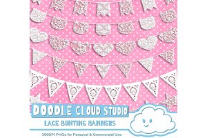 18 White Lace Burlap Bunting Banners