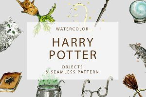 Watercolor Harry Potter Objects