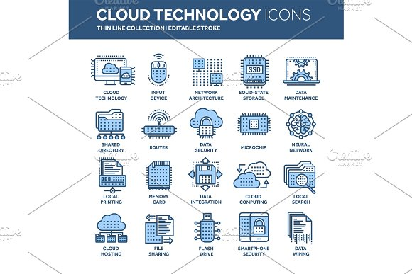 Cloud Omputing Internet Technology Online Services Data Information Security Connection Thin Line Blue Web Icon Set Outline Icons Collection.Vector Illustration