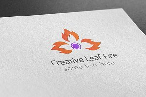 Creative Leaf Fire Logo