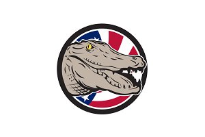 American Alligator USA Flag Icon
