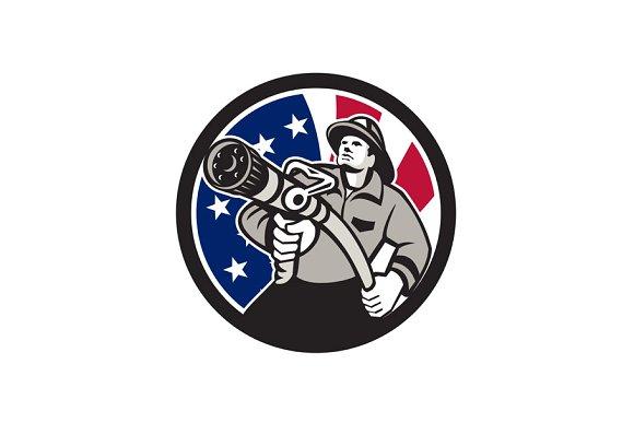 American Fireman USA Flag Icon