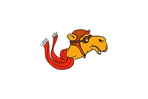 Aviator Camel Goggles Scarf Cartoon