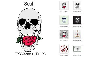 Scull with rose