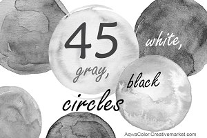 45 watercolor gray circles