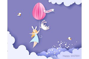 Happy Easter card with bunny, girl and egg