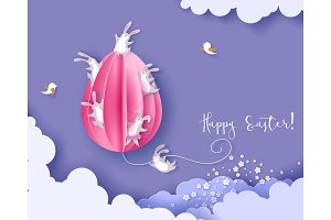 Happy Easter card with bunny, flowers and egg