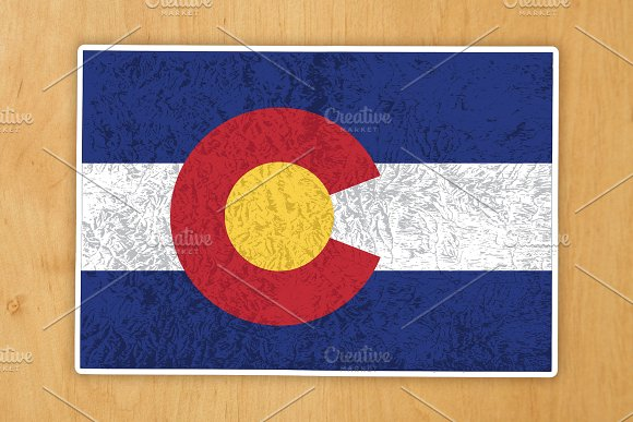 Colorado State Silhouette Flag Map