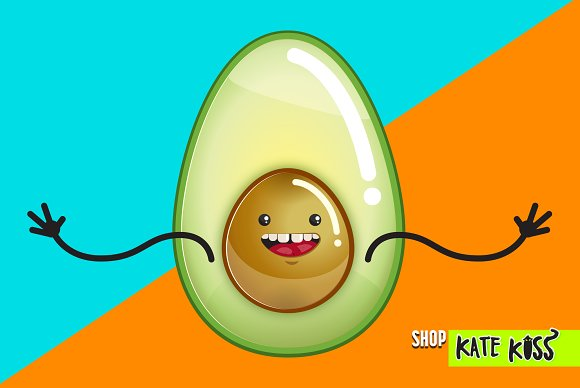 Happy Avocado Vector Illustration
