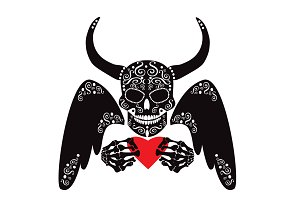 Devil skull icon with heart