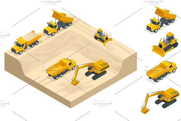 Isometric Excavators And Bulldozers Dig A Pit On The Sand Quarry