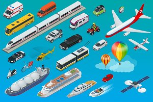 Flat isometric city transport icon set.