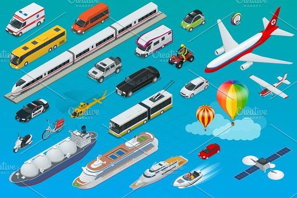 Flat Isometric City Transport Icon Set