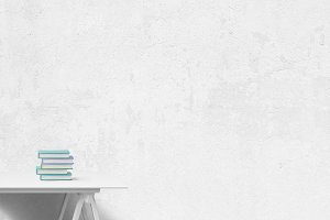 white blog background - desk books