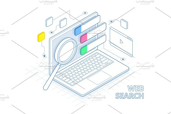 Isometric Search Engine Result Page Flat Vector