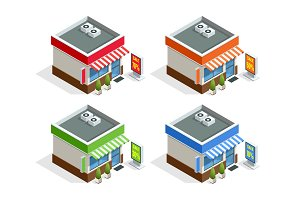 Isometric modern fast food restaurant or shop buildings, store facades