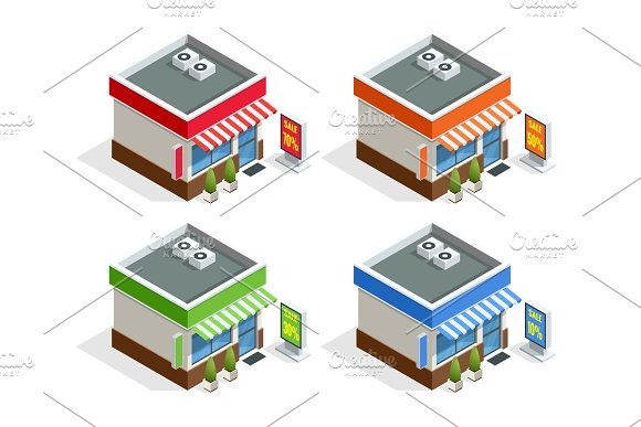 Isometric Modern Fast Food Restaurant Or Shop Buildings Store Facades