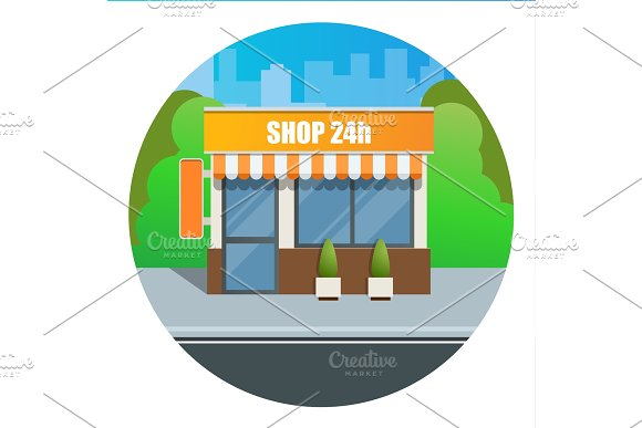 Flat Modern Fast Food Restaurant Or Shop Buildings Store Facades