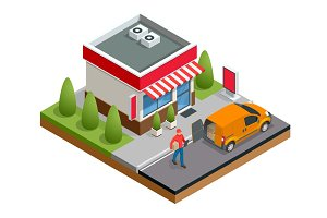 Isometric fast food restaurant or shop buildings, store facades and delivery man