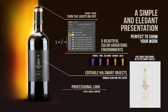 Red Wine Bottle Mockup N1955