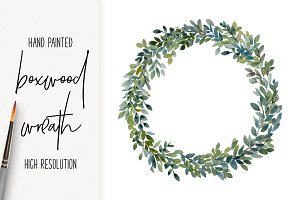 Watercolor Boxwood Wreath png