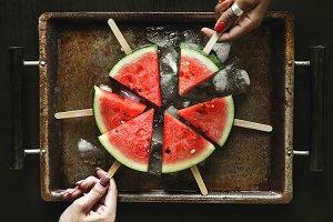 Freshly slice watermelon on sticks