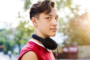 Sporty teenage boy outdoors
