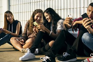 Young teenager friends chilling out