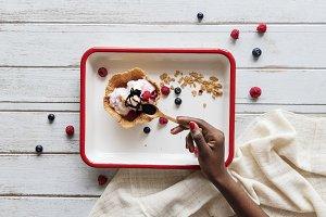 Yummy berry ice cream waffle